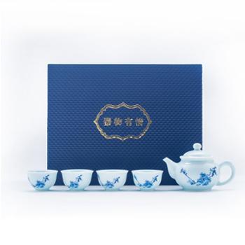 金和汇景-雅器梅花影青一壶四杯茶具