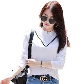馨霓雅 秋季女款撞色拉链修身T恤KQ6962-1 长袖