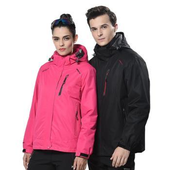 雷宾迪秋冬冲锋衣男女三合一两件套加厚抓绒防水透气登山服R80962