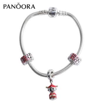 潘宝拉 财神坠 爱心锁珐琅串珠925银手链 银镯子高端银饰品