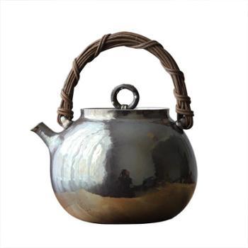 鹤川造物银壶纯银烧水壶 手工一张打藤提梁烧水壶