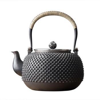 鹤川造物 银壶纯银烧水壶 功夫银茶具铆钉银茶壶