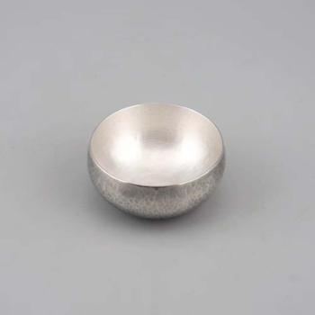 鹤川造物 锤纹鼓形小酒杯 纯银杯 茶杯