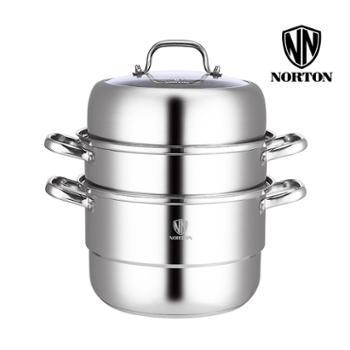 诺顿2ZWLY028新款维利亚全能蒸锅不锈钢28cm多层蒸锅组合盖复底汤锅燃气炉电磁炉通用