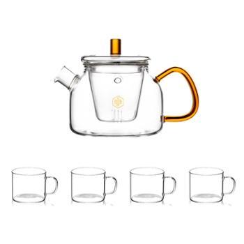 博堡悦茗高硼硅玻璃茶壶套装750ml+120ml*4