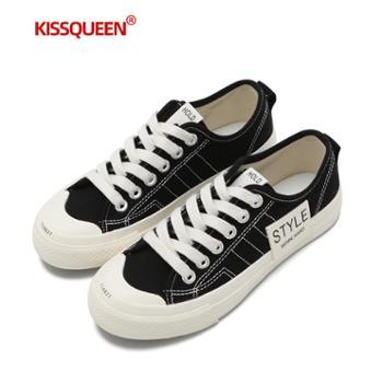 自由绽放KISSQUEEN新款女帆布鞋休闲小白鞋柔软舒适透气W11011