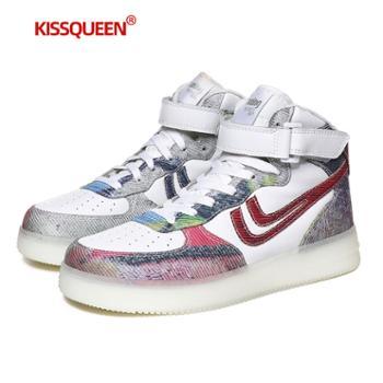 自由绽放KISSQUEEN新款高帮板鞋男女同款透气高弹休闲运动鞋1847