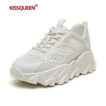 自由绽放KISSQUEEN新款女休闲运动鞋增高透气轻质女鞋F039