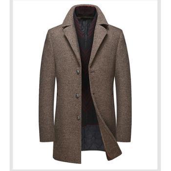 Aeroline毛呢大衣男中长款秋冬季新款中年男士商务修身西装领呢子外套