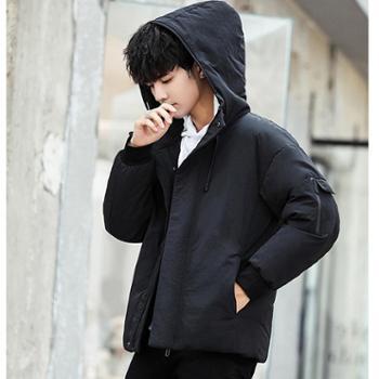Aeroline冬季新款韩版加厚男士羽绒服连帽宽松白鸭绒保暖外套