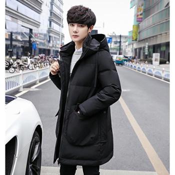 Aeroline冬季新款加厚男士羽绒服中长款连帽白鸭绒保暖韩版外套