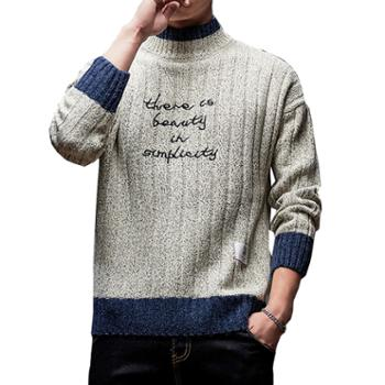 Aeroline半高领毛衣男长袖打底衫青少年学生休闲舒适厚针织衫