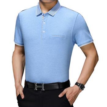 2020中年男士短袖T恤商务纯色男装上衣中老年宽松翻领大码爸爸装Polo衫