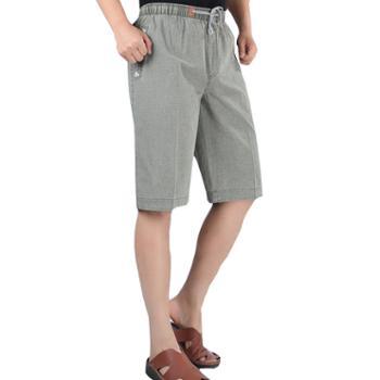 Aeroline男士松紧腰中老年棉质6分短裤