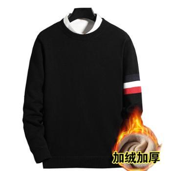 柏誉/Aeroline 男士毛衣 秋冬季圆领加绒厚款套头针织打底衫