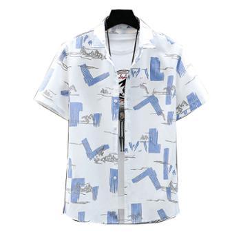 柏誉/Aeroline 男士衬衣 夏季方领短袖百搭薄款条纹衬衫