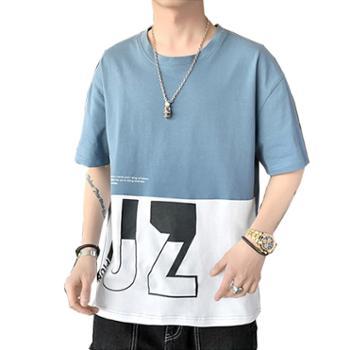 柏誉/Aeroline 男士T恤 夏季圆领短袖纯棉拼色打底衫