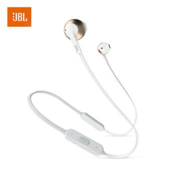 JBL 无线蓝牙耳机 半入耳式音乐运动耳机 带麦可通话 TUNE205BT