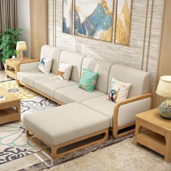 沙发实木沙发新中式家具布艺沙发转角组合高档木加布沙发【下单颜色留言】