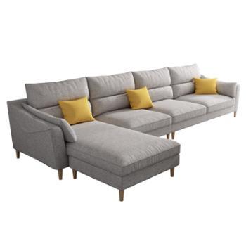 科莱斯克北欧乳胶布艺小户型可拆洗三四人位直排整装沙发