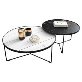 科莱斯克意式轻奢岩板大理石大小圆创意客厅小户型茶几电视柜组合