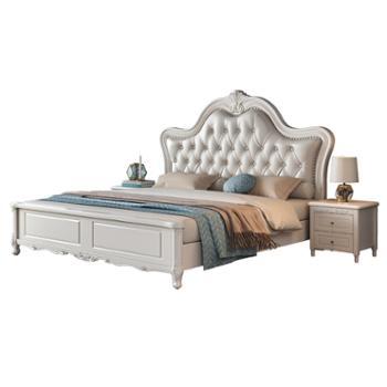 科莱斯克美式轻奢简约双人软包靠背1.5m1.8米实木卧室床