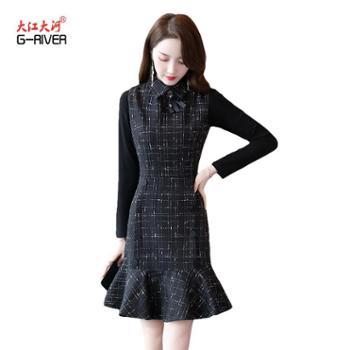 大江大河G-RIVER个性减龄显瘦时尚荷叶边裙两件套