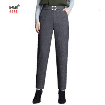 大江大河G-RIVER新款毛呢哈伦裤高腰显瘦人字纹萝卜裤通勤百搭时尚女裤