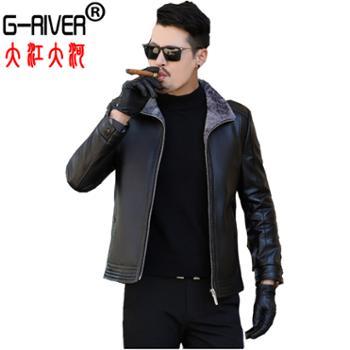 大江大河/G-RIVER真绵羊皮西服男夹克外套加绒皮袄