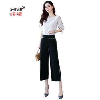 大江大河/G-RIVER韩版女款七分袖阔腿裤两件套时尚两件套s-xxl
