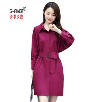 大江大河/G-RIVER百搭宽松中长时尚连衣裙100%棉蓝色/紫色/藏青色/均码