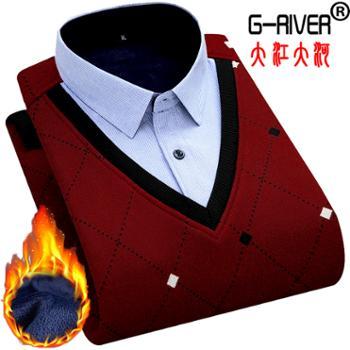 大江大河/G-RIVER加绒保暖假两件套衬衫男时尚拼接,v领