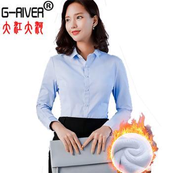 大江大河/G-RIVER加绒加厚保暖衬衫女长袖修身防走光