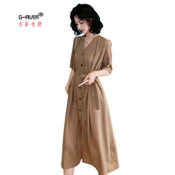 大江大河/G-RIVER女士短袖显瘦连衣裙系带收腰纯色v领中长款