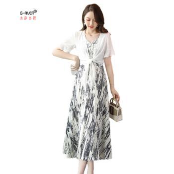 大江大河/G-RIVER女式雪纺中长款连衣裙披肩两件套透气防晒M-2L