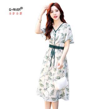 大江大河/G-RIVER女士夏装短袖显瘦连衣裙系带收腰纯色v领中长款