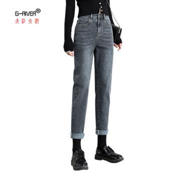 大江大河/G-RIVER女式高腰百搭牛仔裤宽松25-32
