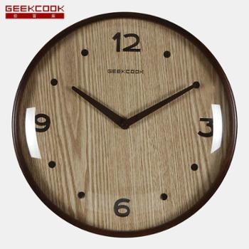 极客库木头钟:林间明月球面凸玻璃曲木框时钟