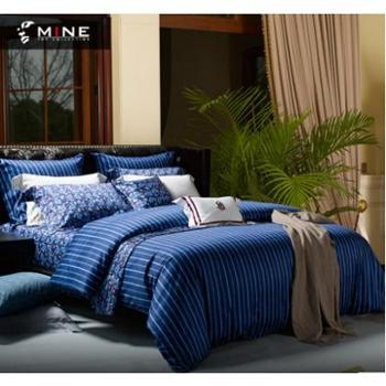 MINE/寐温哥华长绒棉印花纯棉床单床笠四件套床品套件1.8m