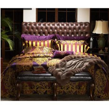 MINE/寐温莎古堡真丝色织提花床单床笠款四件套床品套件1.8m