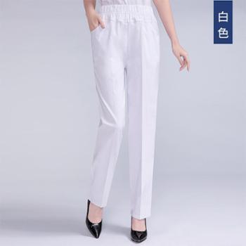 百旅Bailv中老年薄款高腰纯棉弹力宽松直筒休闲裤女长裤