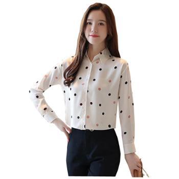 百旅Bailv雪纺衬衫女长袖秋季新款气质薄款衬衣波点很仙的上衣