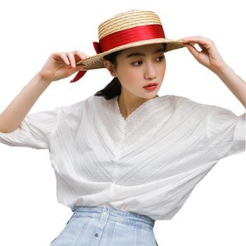 百旅Bailv夏新款v领花边刺绣七分袖白色衬衣