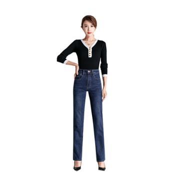 百旅女士牛仔裤秋季高腰舒适弹力直筒长裤