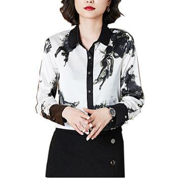 百旅女士衬衣秋季翻领长袖气质仿真丝印花衬衫