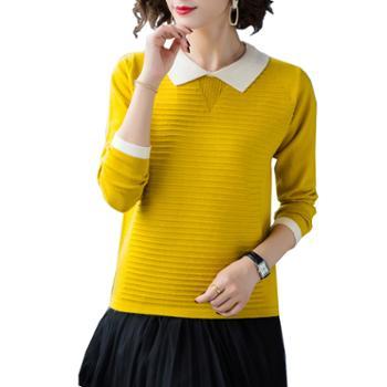 百旅女装毛衣秋冬季娃娃领矮个子洋气毛衣打底衫