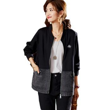 百旅女士外套秋装夹棉加厚牛仔外套拼接上衣