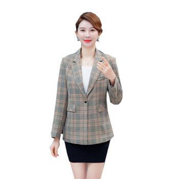 百旅女士西装春季气质长袖修身格纹百搭外套