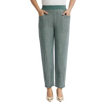百旅女士休闲裤夏季高腰舒适弹力薄款九分妈妈裤