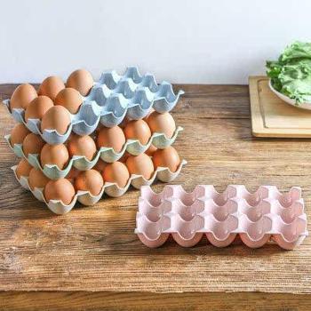 小麦纤维PP鸡蛋收纳盒冰箱橱柜保鲜盒放鸡蛋的盒子鸡蛋托15格